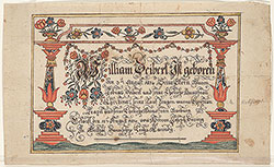 Birth and Baptismal Certificate (Geburts und Taufschein) for William Deibert