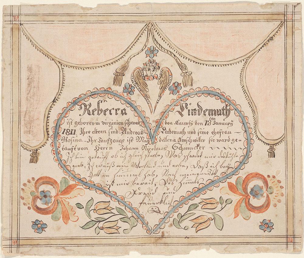 Birth and Baptismal Certificate (Geburts und Taufschein) for Rebecca Lindemuth