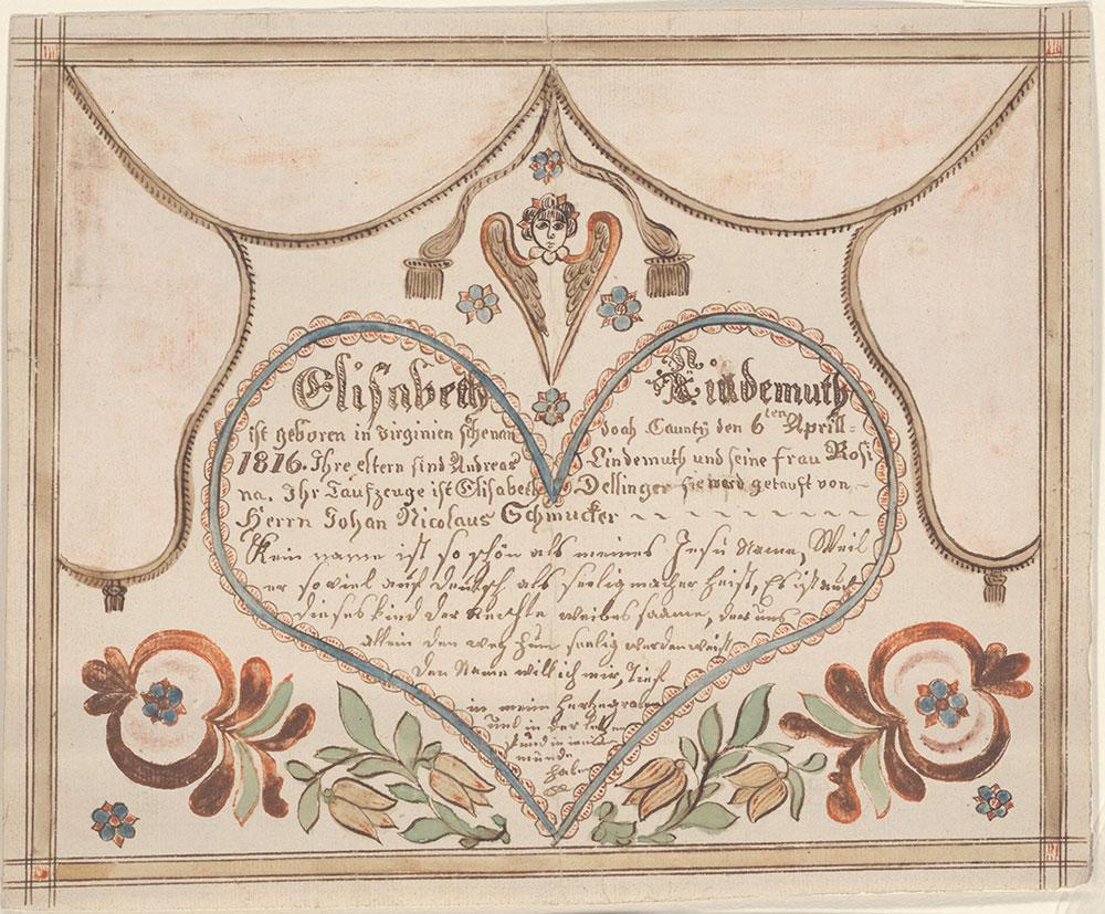 Birth and Baptismal Certificate (Geburts und Taufschein) for Elisabeth Lindemuth