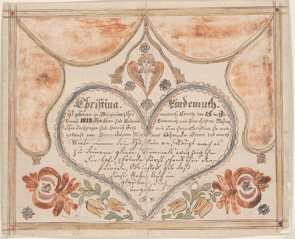 Birth and Baptismal Certificate (Geburts und Taufschein) for Christina Lindemuth