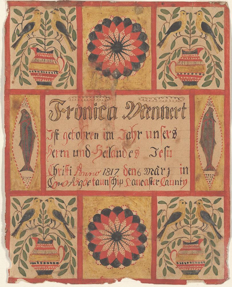 Birth Certificate (Geburtsschein) for Frönica Mennert
