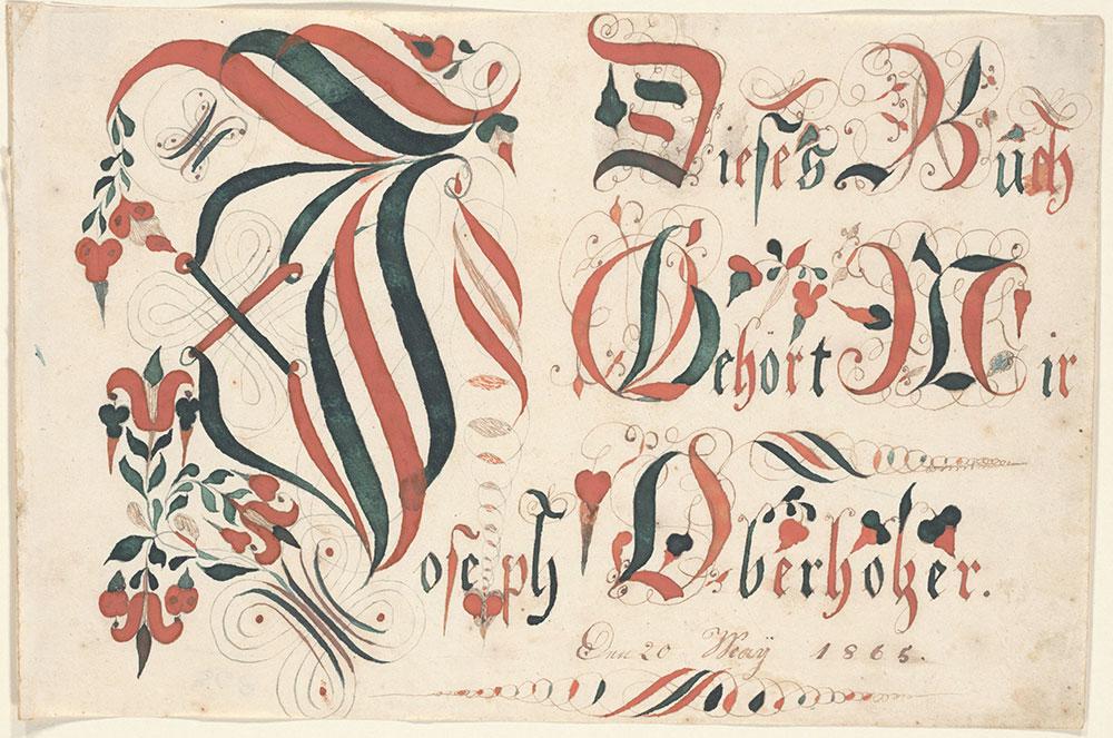 Bookplate (Bücherzeichen) for Joseph Oberholzer