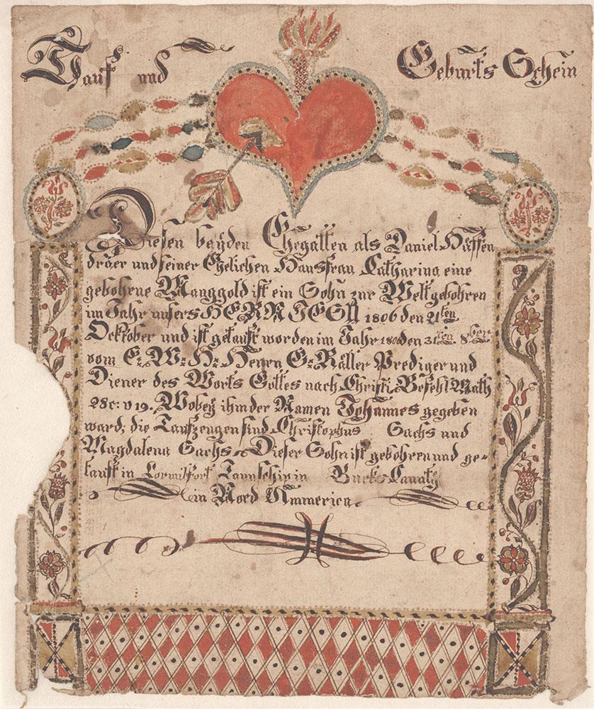 Birth and Baptismal Certificate (Geburts und Taufschein) for Johannes Hüffendraer