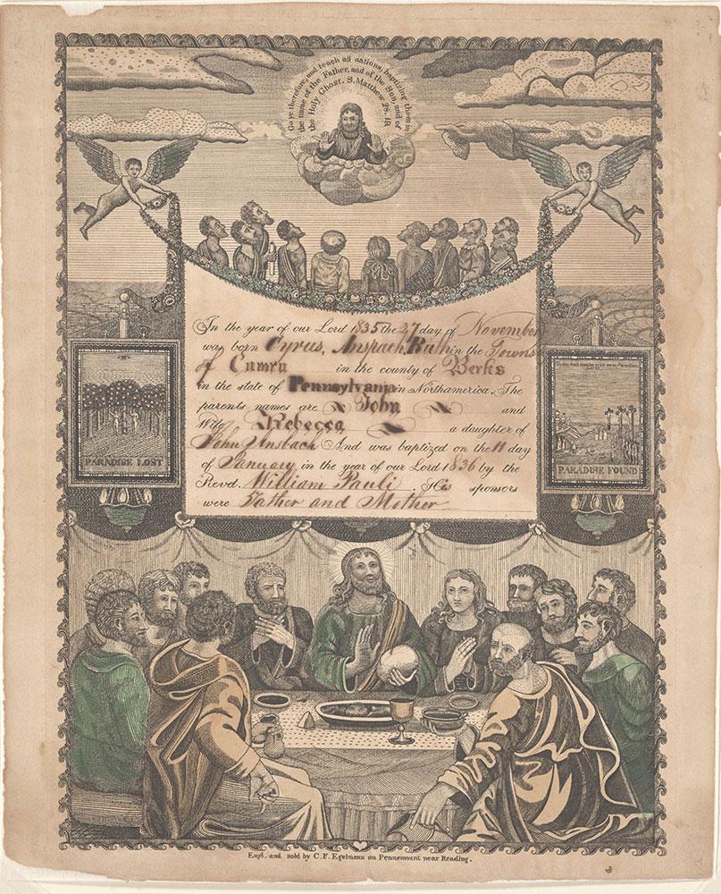 Birth and Baptismal Certificate (Geburts und Taufschein) for Cyrus Anspach