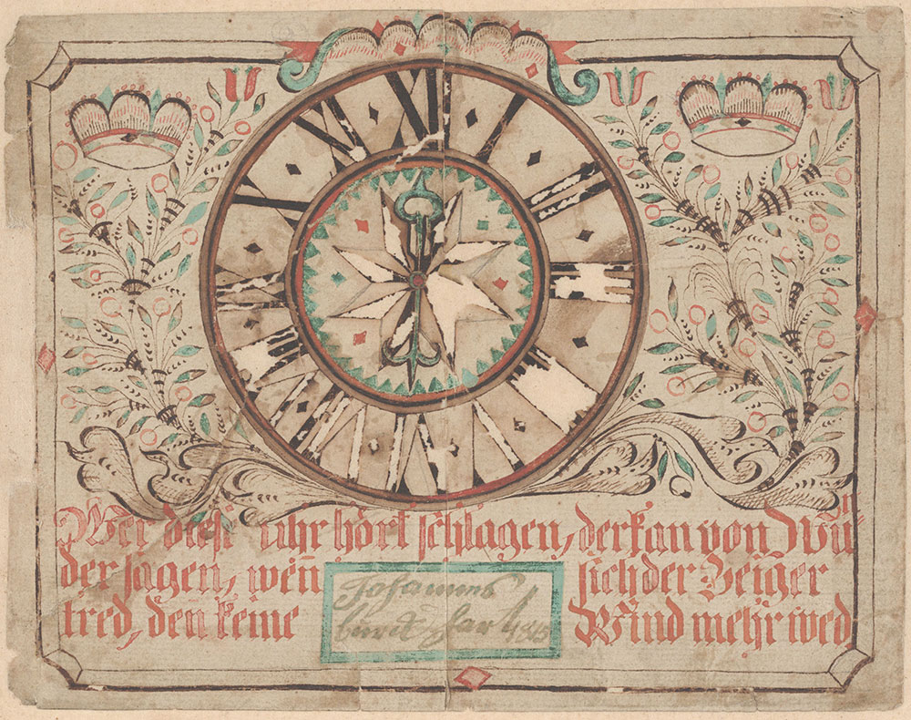 Drawing for Johannes Burckhart (He who hears this clock strike [Wer diese Uhr hört schlagen])
