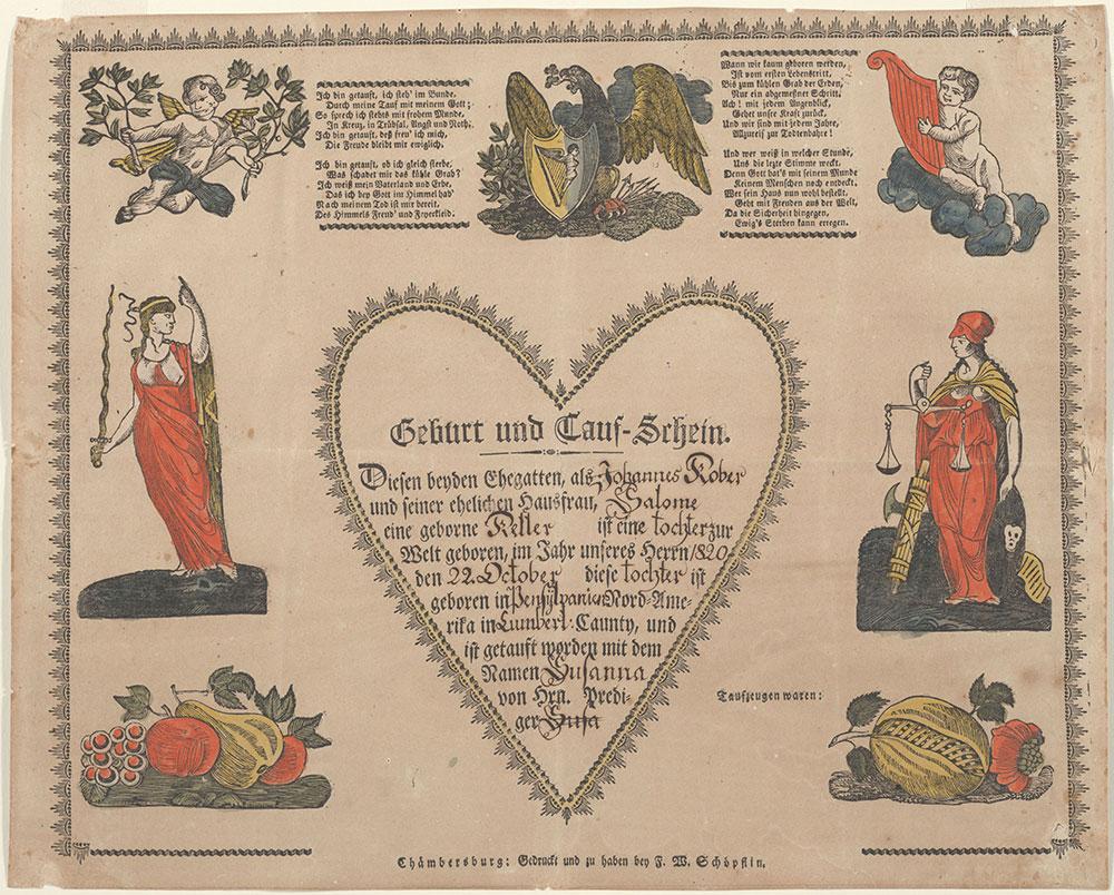 Birth and Baptismal Certificate (Geburts und Taufschein) for Susanna Kober