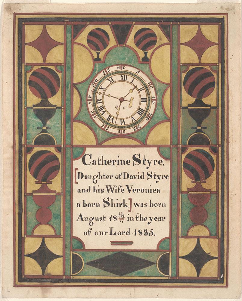 Birth Certificate (Geburtsschein) for Catherine Styre