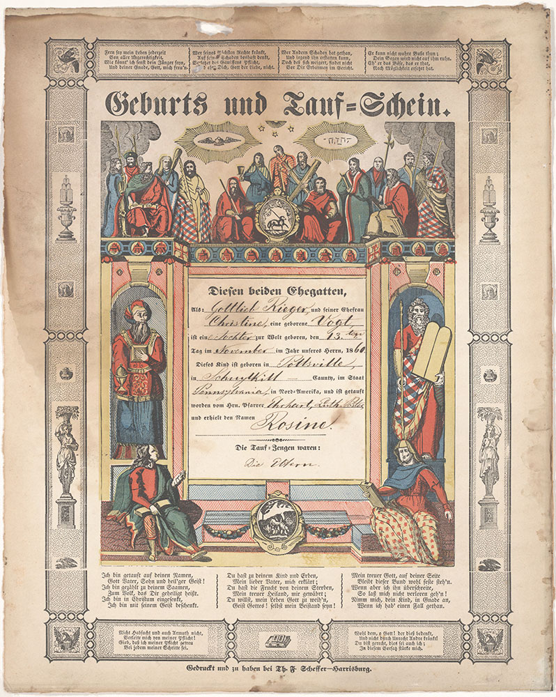 Birth and Baptismal Certificate (Geburts und Taufschein) for Rosine Rieger