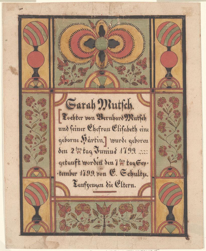 Birth and Baptismal Certificate (Geburts und Taufschein) for Sarah Mutsch