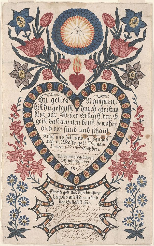 Birth and Baptismal Certificate (Geburts und Taufschein) for Philipp Friedrich Schoch