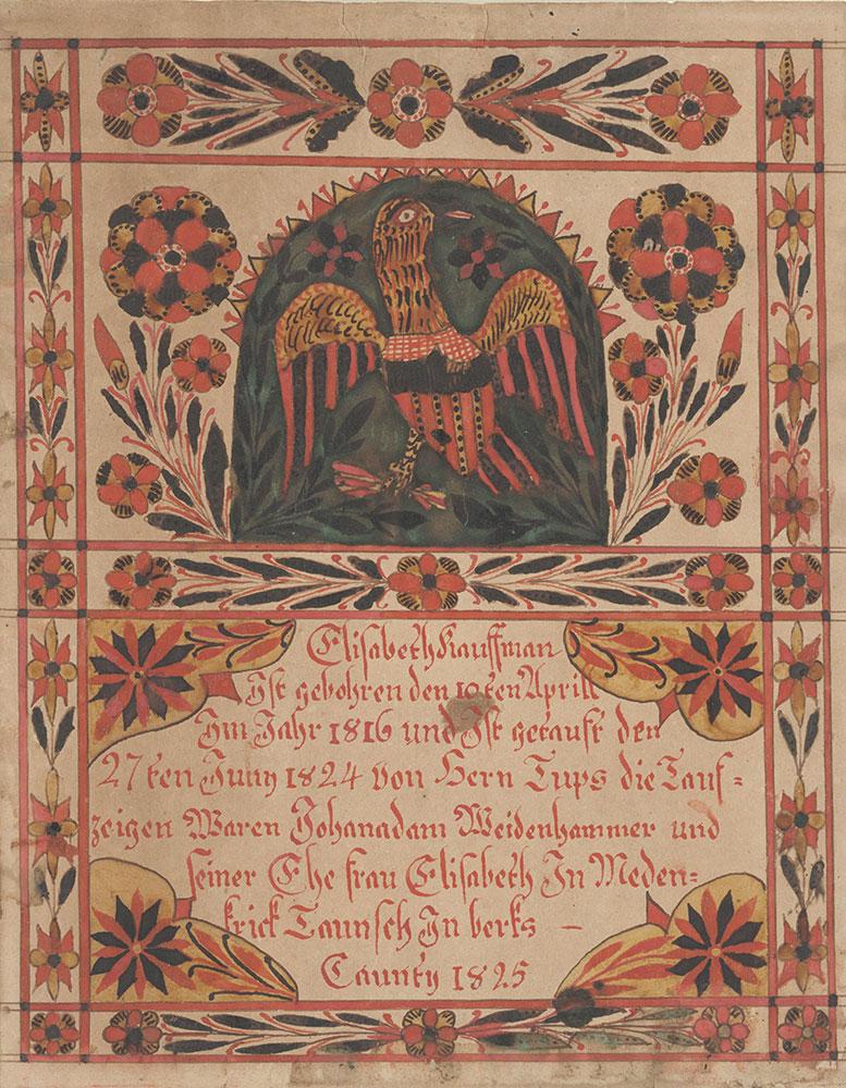 Birth and Baptismal Certificate (Geburts und Taufschein) for Elisabeth Kauffman
