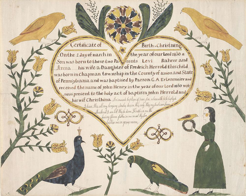 Birth and Baptismal Certificate (Geburts und Taufschein) for John Henry Rahrer