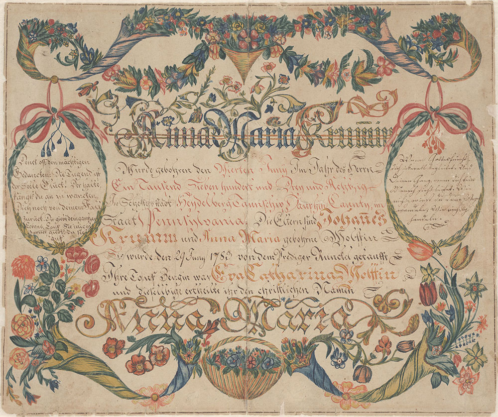 Birth and Baptismal Certificate (Geburts und Taufschein) for Anna Maria Krumm