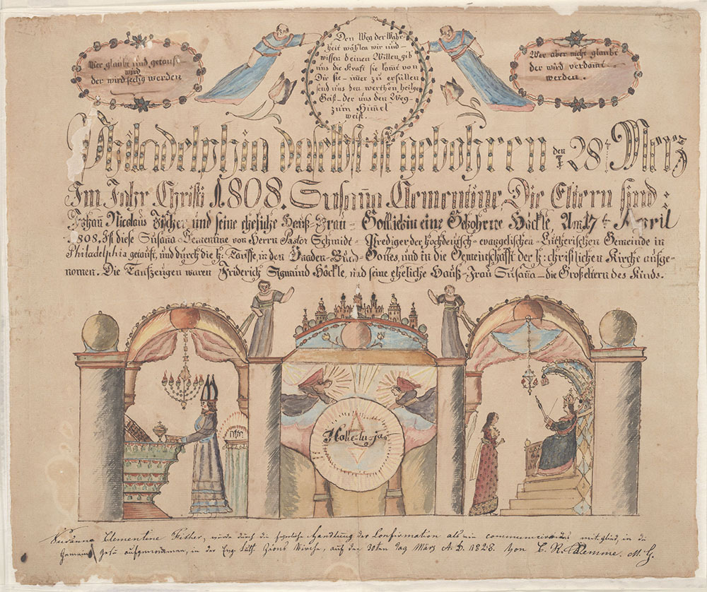 Birth and Baptismal Certificate (Geburts und Taufschein) for Susanna Clementine Fischer