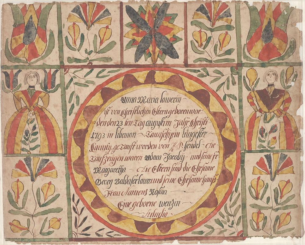 Birth and Baptismal Certificate (Geburts und Taufschein) for Anna Maria Lawer