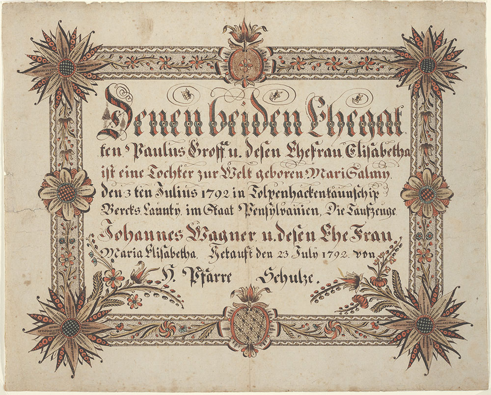 Birth and Baptismal Certificate (Geburts und Taufschein) for Mari Salmy Groff