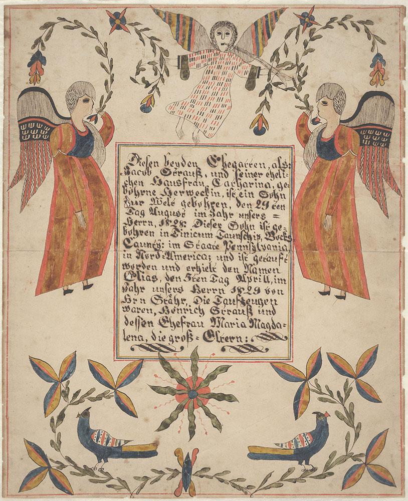 Birth and Baptismal Certificate (Geburts und Taufschein) for Elias Strauss
