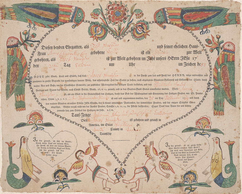 Birth and Baptismal Certificate (Geburts und Taufschein) for Jacob Schneyder