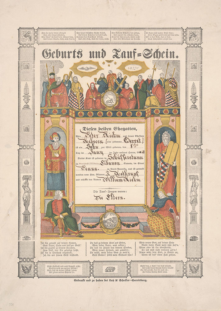 Birth and Baptismal Certificate (Geburts und Taufschein) for William Riehm