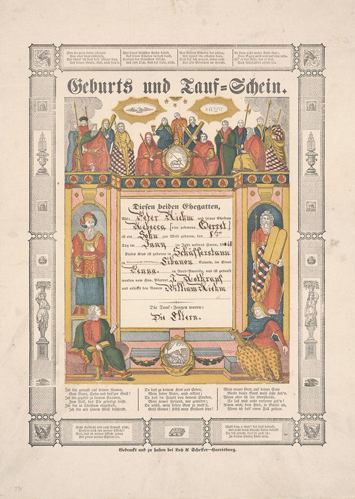 Birth and Baptismal Certificate (Geburts und Taufschein) for William Riehm