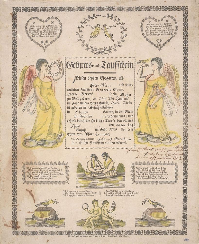 Birth and Baptismal Certificate (Geburts und Taufschein) for Israel Riem