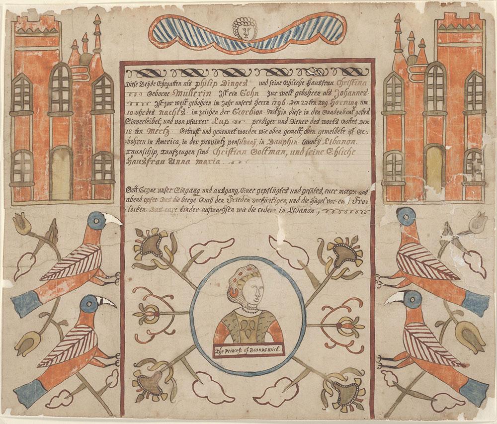 Birth and Baptismal Certificate (Geburts und Taufschein) for Johannes Dinges
