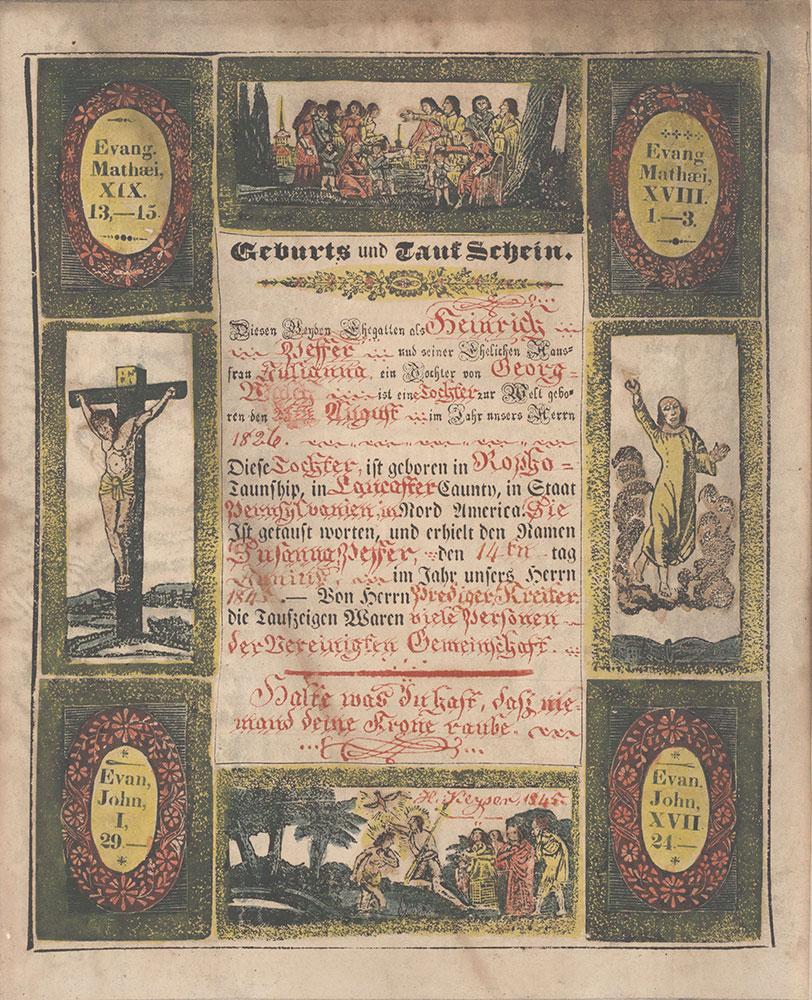 Birth and Baptismal Certificate (Geburts und Taufschein) for Susanna Peffer