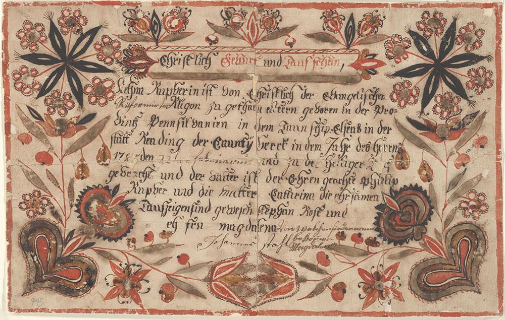 Birth and Baptismal Certificate (Geburts und Taufschein) for Magdalena Rupber