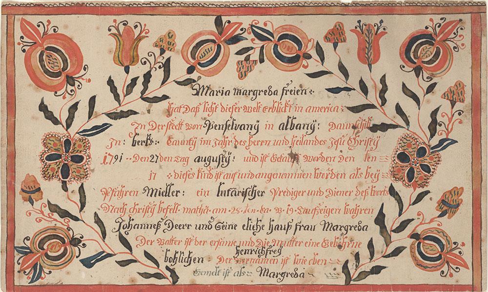 Birth and Baptismal Certificate (Geburts und Taufschein) for Maria Margreda Frey