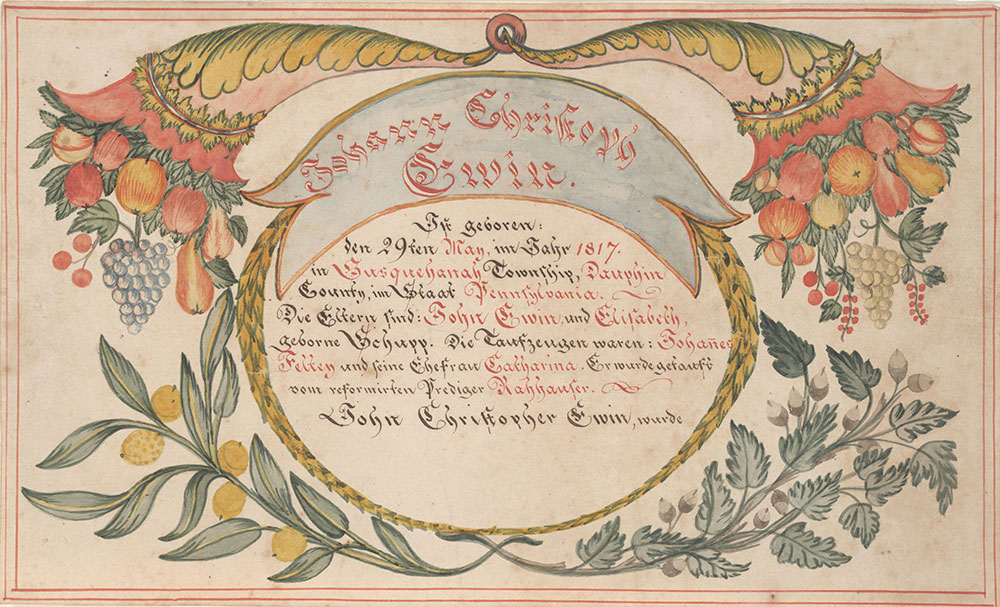Birth and Baptismal Certificate (Geburts und Taufschein) for Johann Christoph Ewin