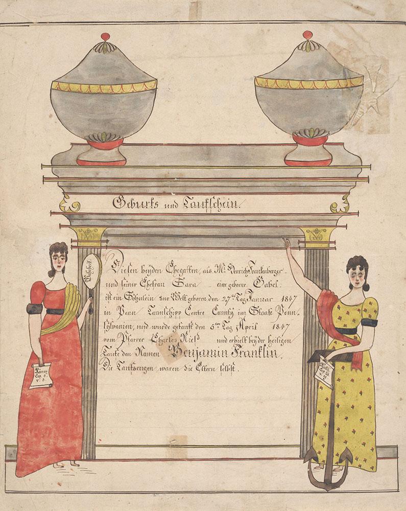 Birth and Baptismal Certificate (Geburts und Taufschein) for Benjamin Franklin Frankenberger