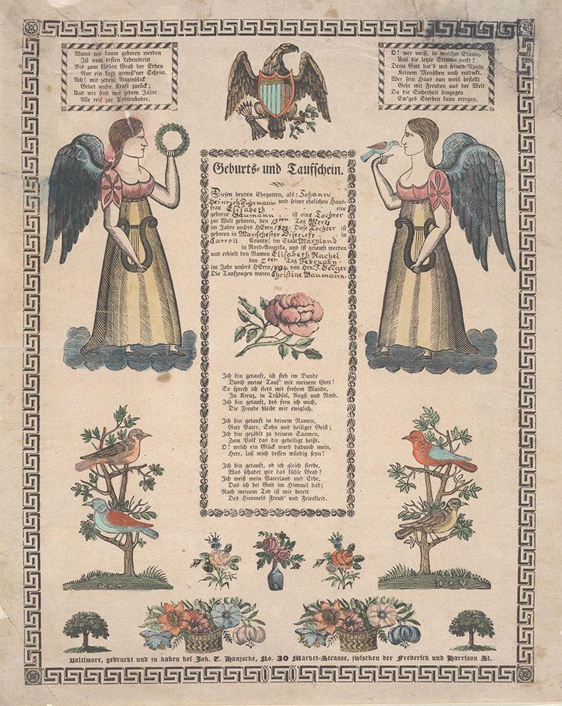 Birth and Baptismal Certificate (Geburts und Taufschein) for Elisabeth Rachel Fuhrmann