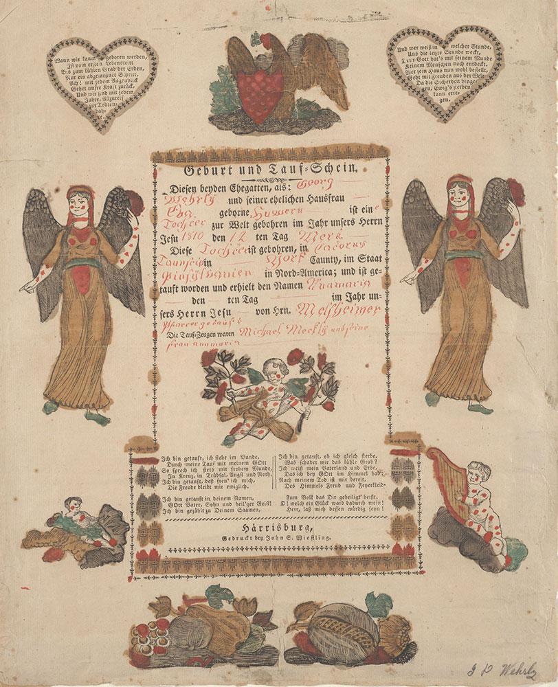 Birth and Baptismal Certificate (Geburts und Taufschein) for Anamaria Wehrly