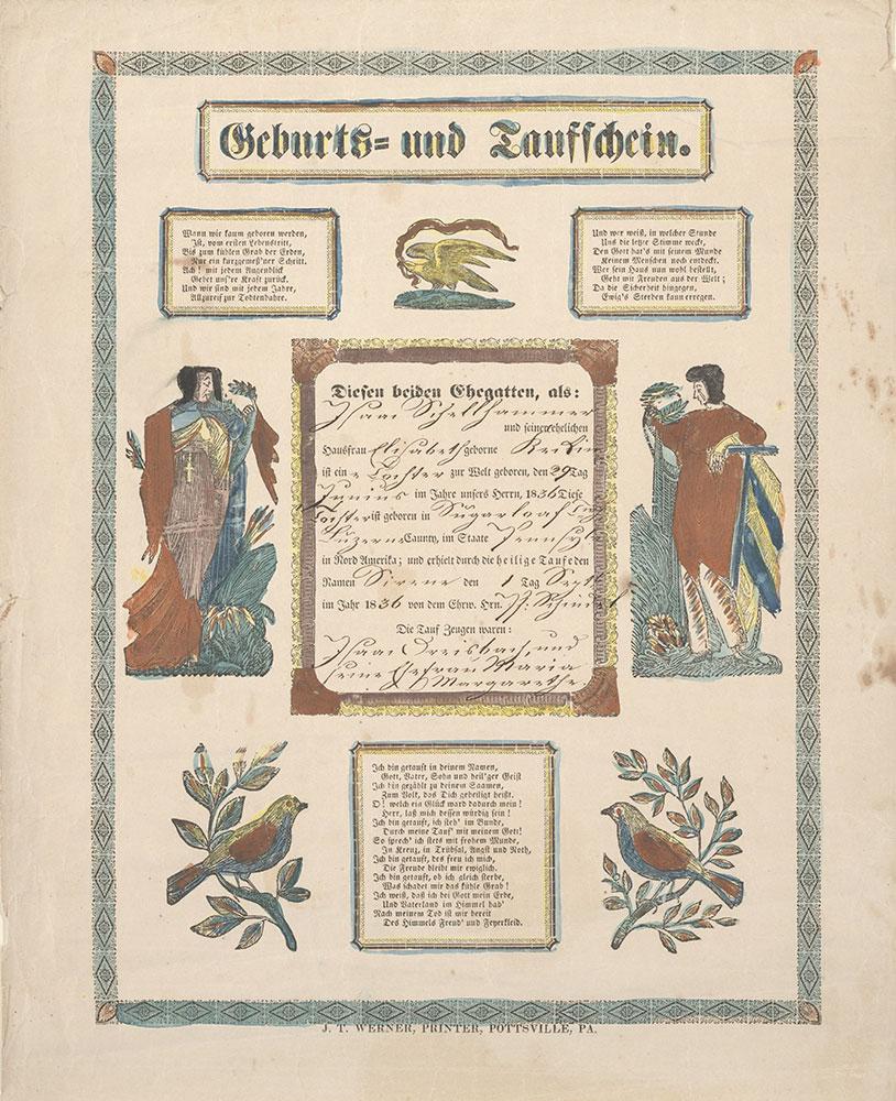 Birth and Baptismal Certificate (Geburts und Taufschein) for Sirene Schellhammer