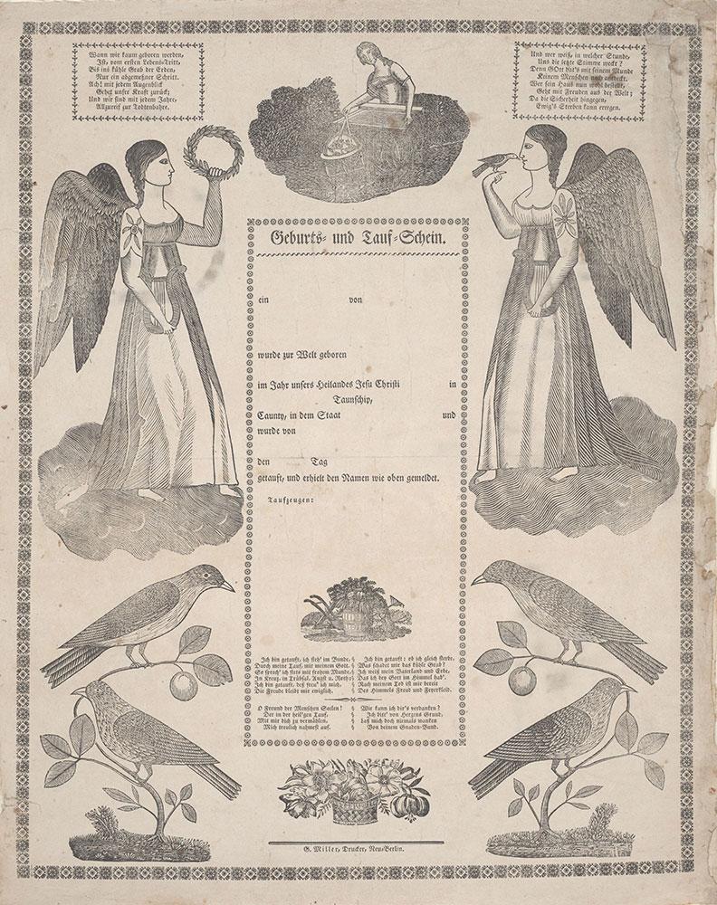 Birth and Baptismal Certificate (Geburts und Taufschein) for [blank]