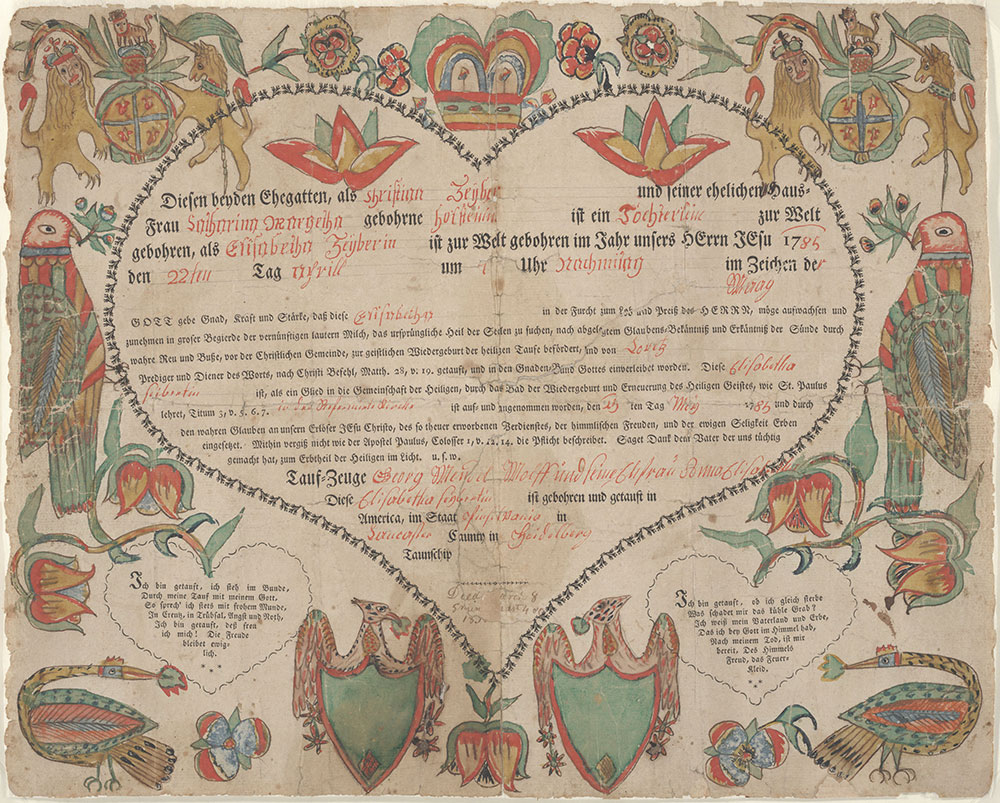 Birth and Baptismal Certificate (Geburts und Taufschein) for Elisabetha Zeyber