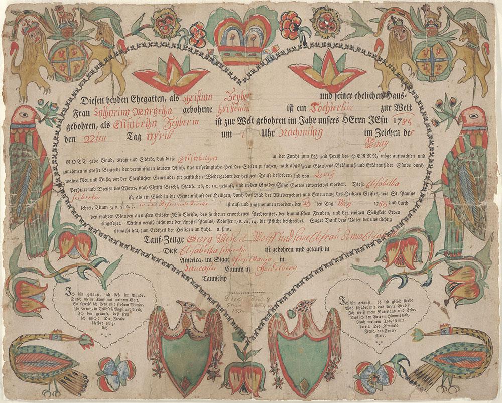 Birth and Baptismal Certificate (Geburts und Taufschein) for Elisabetha Zeyber