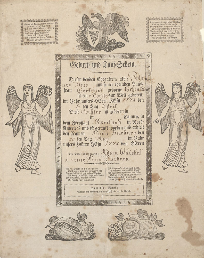 Birth and Baptismal Certificate (Geburts und Taufschein) for Anna Barbara Deis