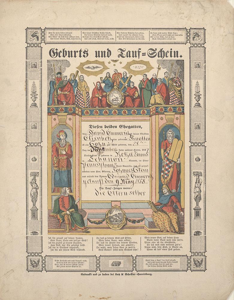 Birth and Baptismal Certificate (Geburts und Taufschein) for Eduward Emmerich
