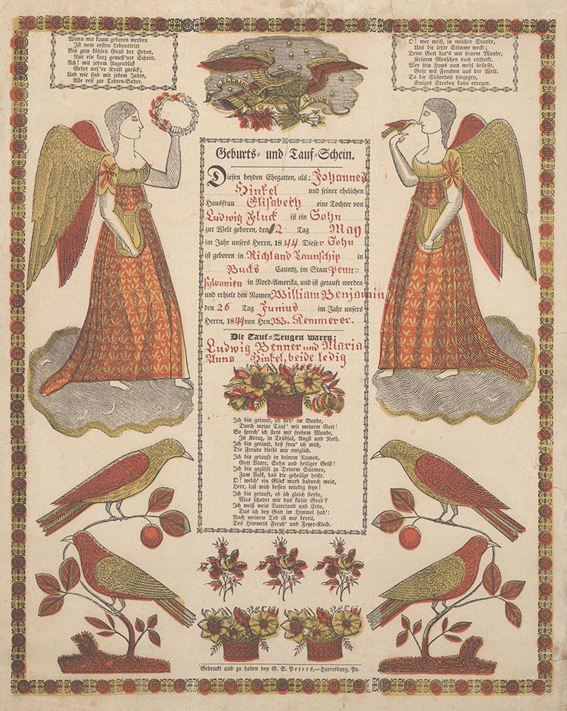 Birth and Baptismal Certificate (Geburts und Taufschein) for William Benjamin Hinkel