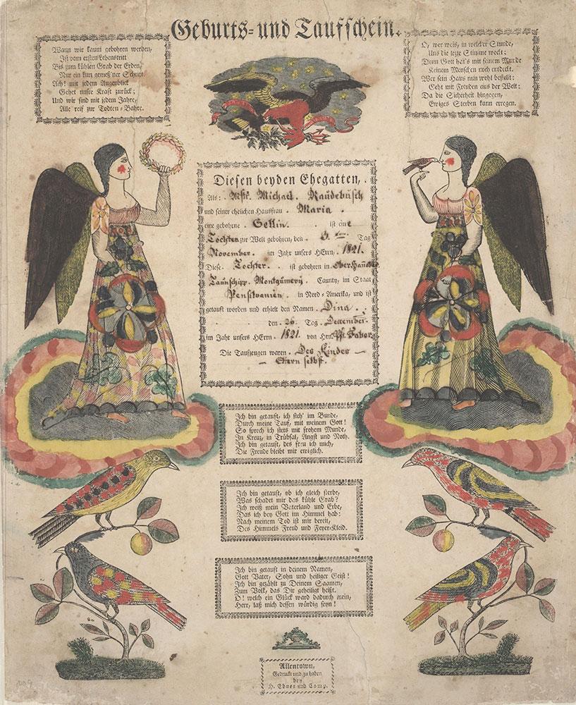 Birth and Baptismal Certificate (Geburts und Taufschein) for Dina Raudebusch