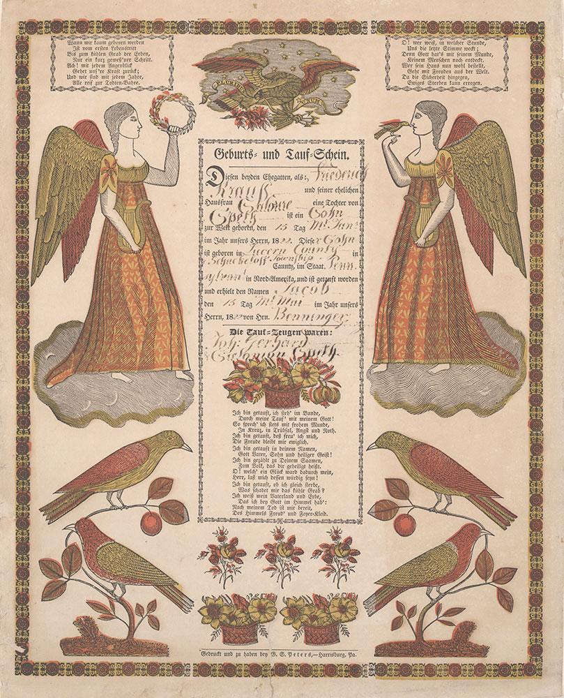 Birth and Baptismal Certificate (Geburts und Taufschein) for Jacob Krauss