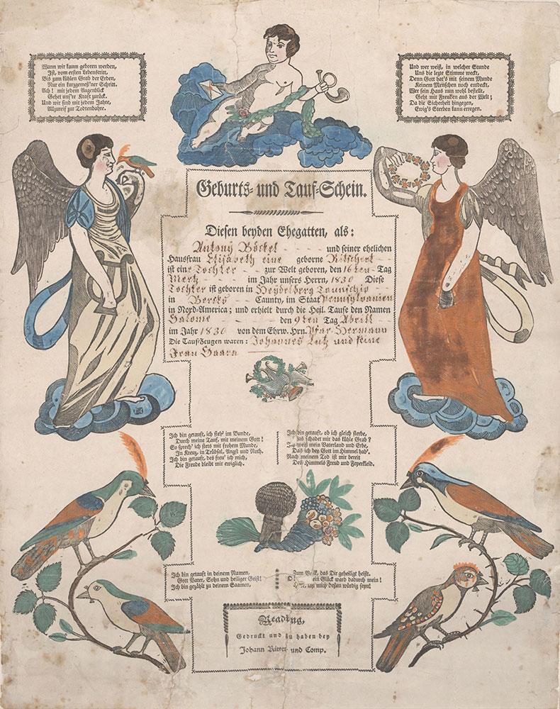 Birth and Baptismal Certificate (Geburts und Taufschein) for Salome Boeckel