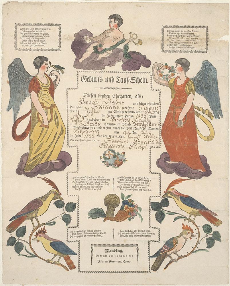 Birth and Baptismal Certificate (Geburts und Taufschein) for Elisabeth Bauer