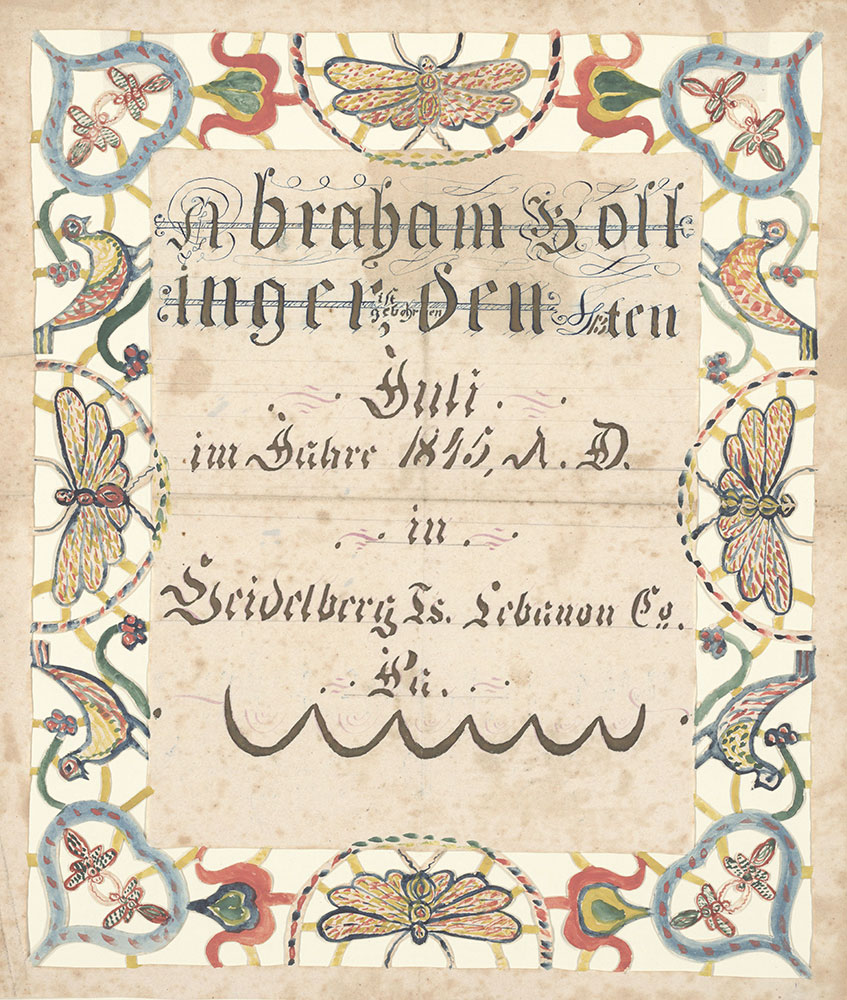 Birth Certificate Geburtsschein For Abraham Bollinger Digital