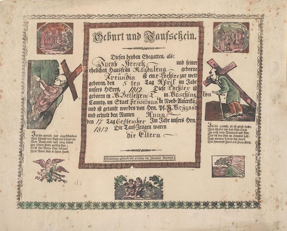 Birth and Baptismal Certificate (Geburts und Taufschein) for Anna Hersch