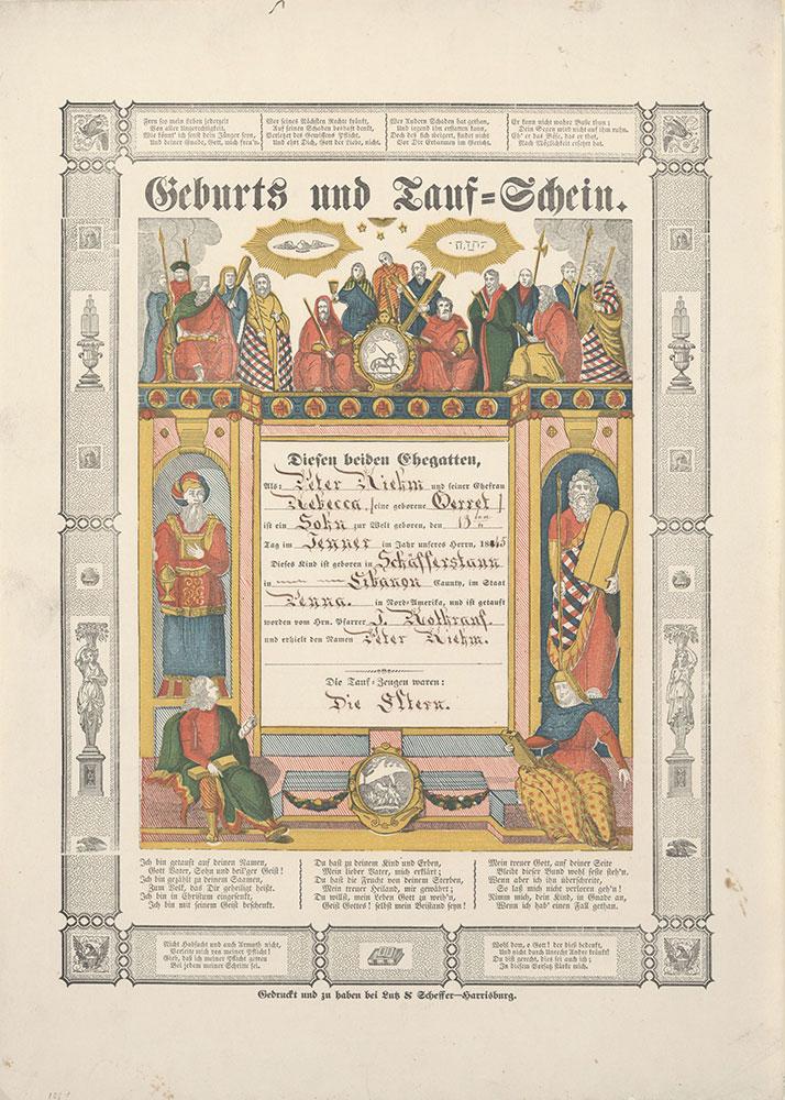 Birth and Baptismal Certificate (Geburts und Taufschein) for Peter Riehm