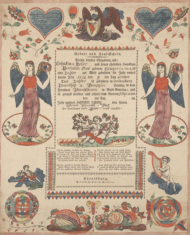 Birth and Baptismal Certificate (Geburts und Taufschein) for Catharina Keller