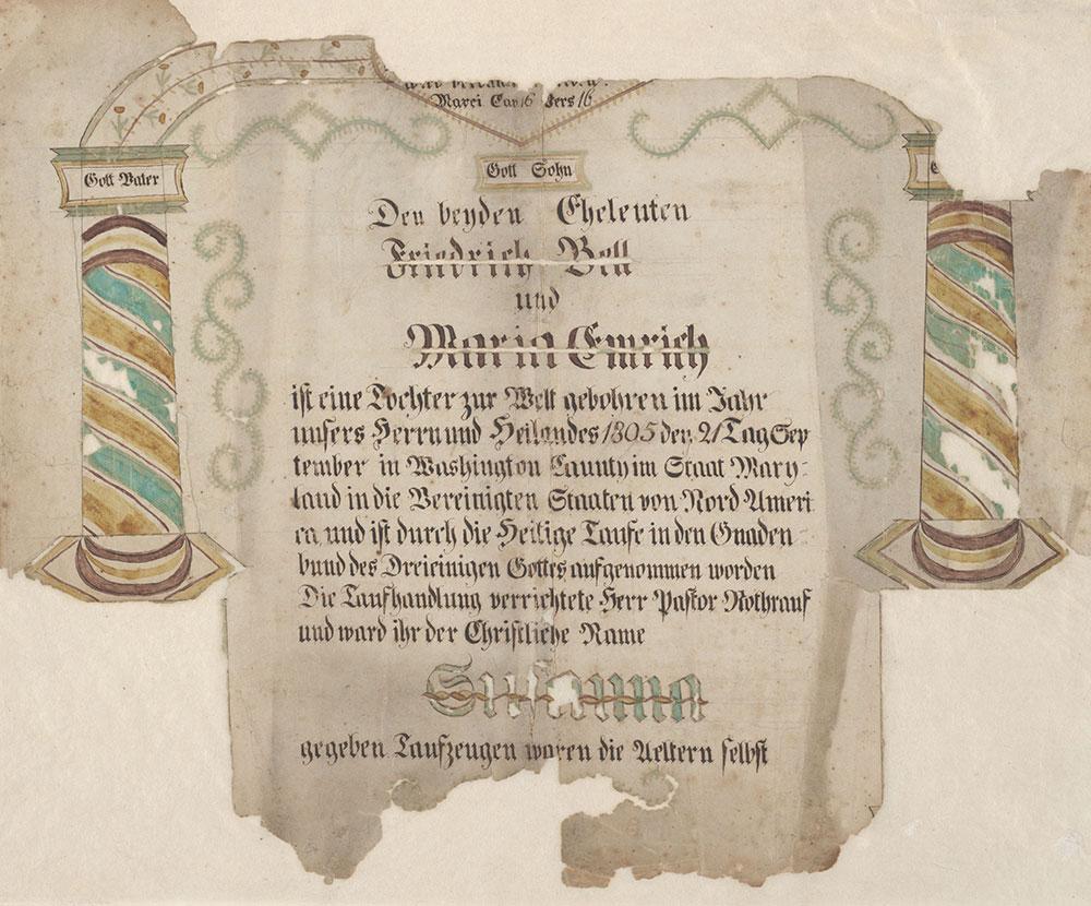 Birth and Baptismal Certificate (Geburts und Taufschein) for Susanna Bell