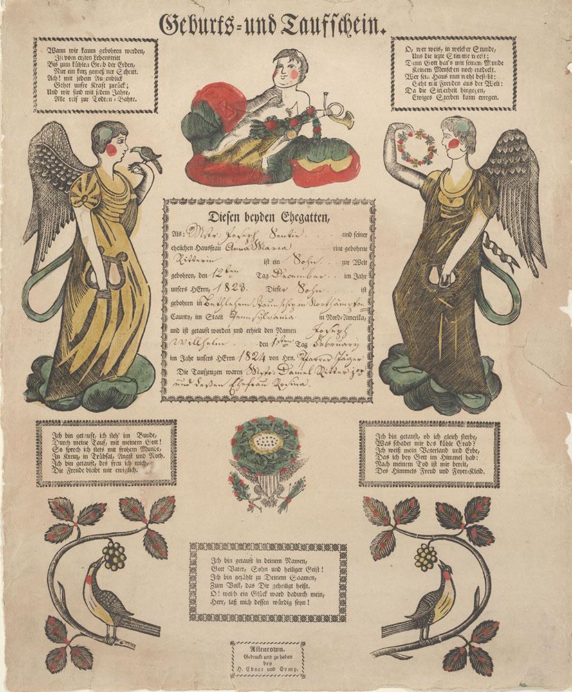 Birth and Baptismal Certificate (Geburts und Taufschein) for Joseph Willhelm Sentie